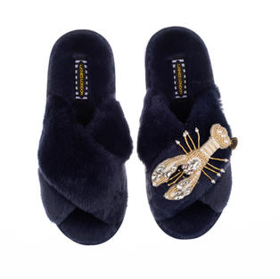 Artisan Pearl & Gold Lobster on Navy Classic Slippers
