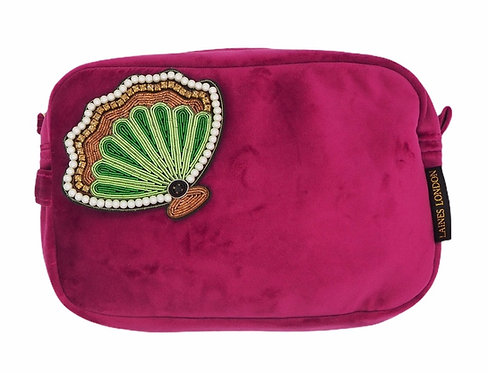 Laines London Luxe Bright Pink Velvet Bag With Deluxe Shell Brooch