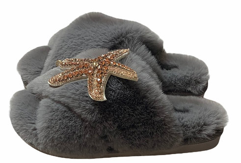 Laines Cloud Grey Slippers with Rose Gold Starfish