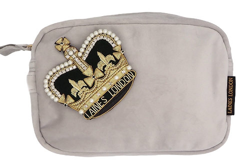 Laines London Luxe Grey Velvet Bag With Deluxe Crown Brooch
