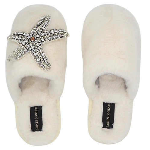Closed Toe Cream Fluffy Slippers with Silver Starfish Brooch