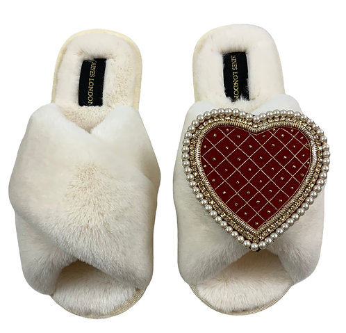 Cream Fluffy Slippers with Deluxe Red Quilted Heart Brooch