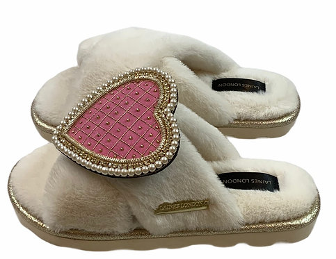 Ultralight Chic Slippers / Sliders with Deluxe Quilted Pink Heart Brooch