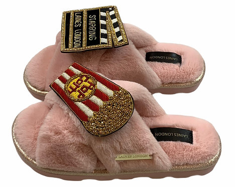 Ultralight Chic Slippers / Sliders with Double Deluxe Movie Night Brooches