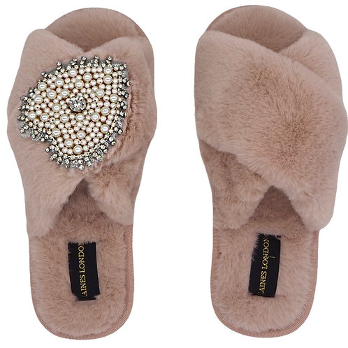 Pink Fluffy Slippers with Pearl and Diamond Heart