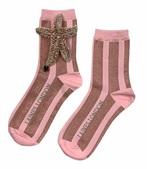Pink & Rose Gold Shimmer Stripe Cotton Socks With Artisan Rose Gold Starfish