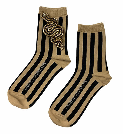 Beige & Black Stripe Cotton Socks With Artisan Black Snake Brooch