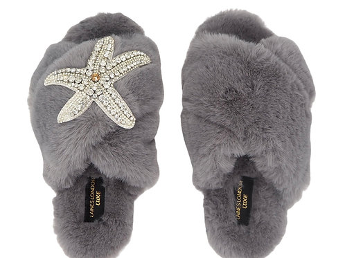 Laines Luxe Fluffy Grey Slippers With Diamanté Silver Starfish Brooch