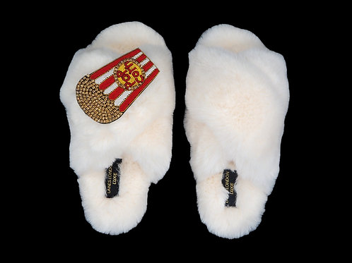 Laines Luxe Fluffy Cream Slippers With Deluxe Diamanté Popcorn Brooch