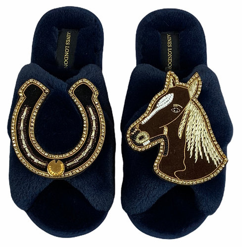 Classic Laines Slippers with Double Deluxe Horseshoe & Chestnut Horse Brooch