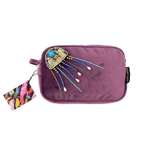 Aubergine Velvet Bag With Crystal Jellyfish Brooch