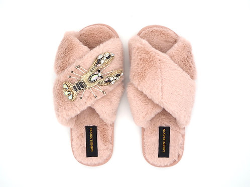 Pink Fluffy Slippers Lobster Brooch