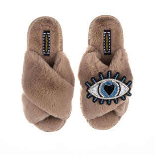 Deluxe Artisan Blue Heart Eye on Classic Toffee Slippers