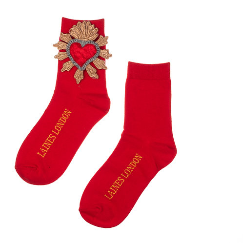Bright Red Bamboo Socks With Red Heart Brooch