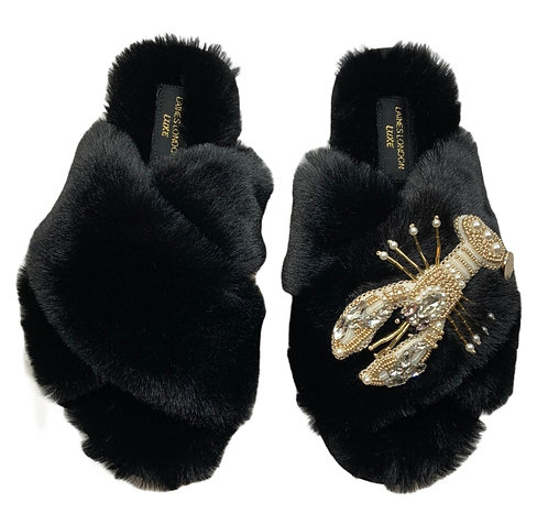 Laines Cloud Black Slippers With Artisan Pearl & Gold Lobster Brooch
