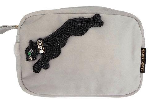 Grey Velvet Bag With Jet Panther Brooch