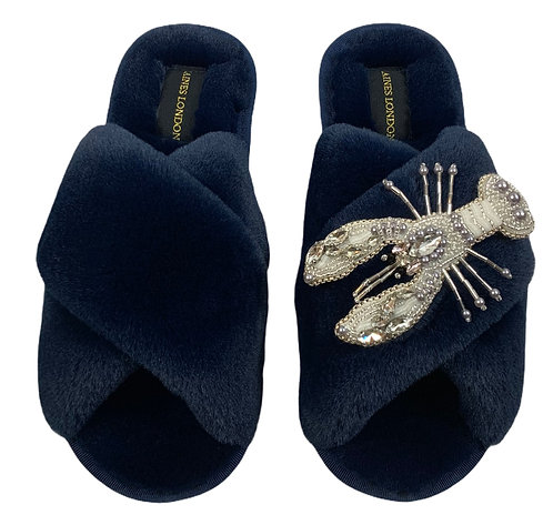 Navy Fluffy Slippers Pearl and Crystal Lobster Brooch