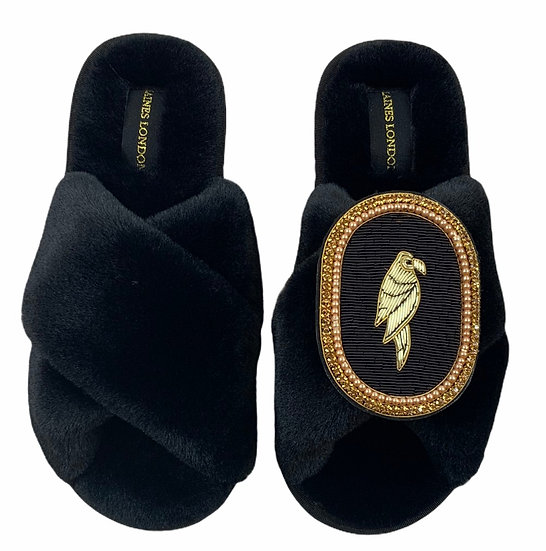Classic Laines Slippers with Deluxe Black Parrot Brooch