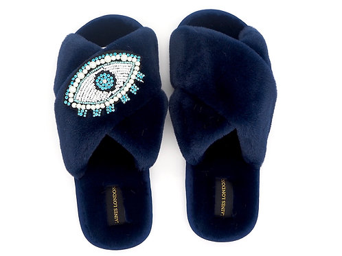 Navy Fluffy Slippers Blue Crystal and Pearl eye Brooch