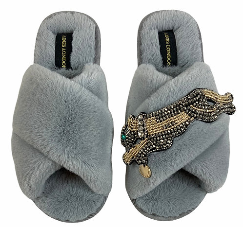 Classic Laines Slippers With Platinum Panther Brooch