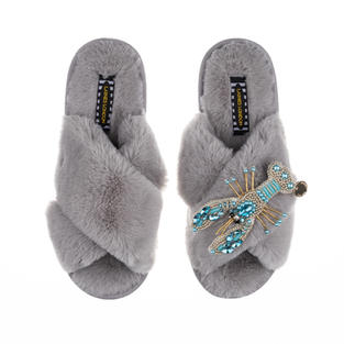 Artisan Pearl & Blue Lobster on Grey Classic Slippers