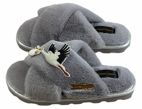 Ultralight Chic Slippers / Sliders with Premium Baby Stork Brooch