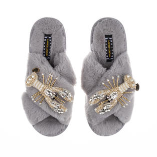 Artisan Double Pearl & Gold Lobster on Grey Classic Slippers