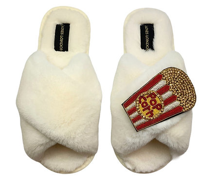 Cream Fluffy Slippers with Deluxe Popcorn Brooch