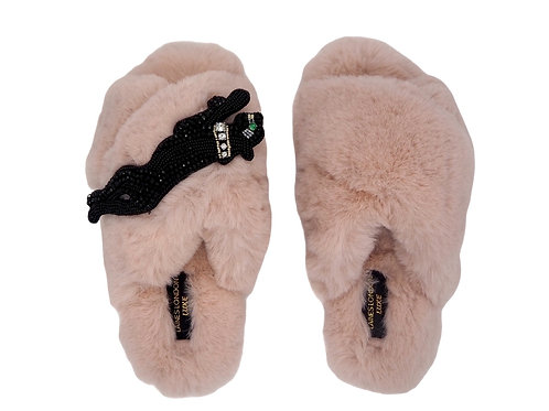 Laines Luxe Fluffy Pink Slippers With Jet Panther Brooch