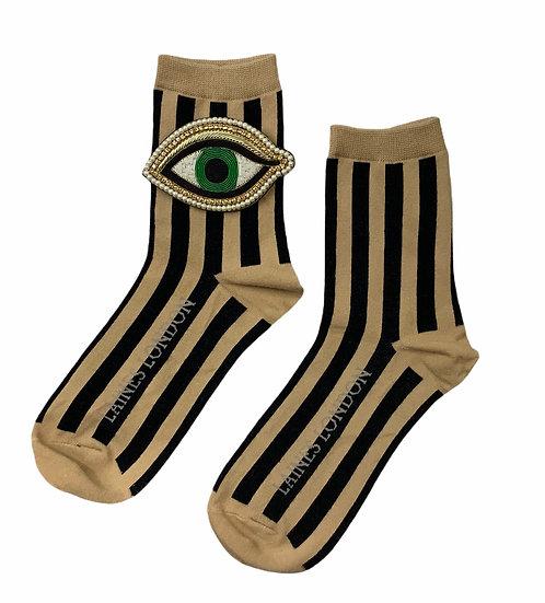 Beige & Black Stripe Cotton Socks With Artisan Green Eye Brooch