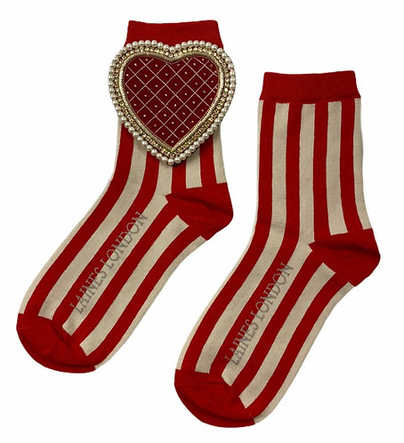 Red & Cream Red Stripe Cotton Socks With Red Quilted Heart