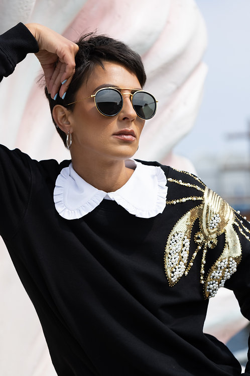 Black Pearl & Gold Lobster Relaxed Fit Sweatshirt