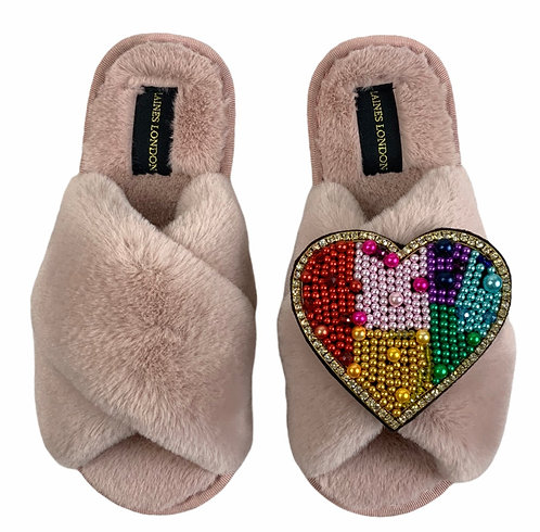 Classic Laines Slippers with Deluxe Rainbow Heart Brooch