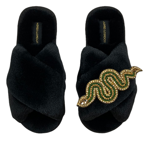 Black Fluffy Slippers Gold Crystal & Green Artisan Snake Brooch