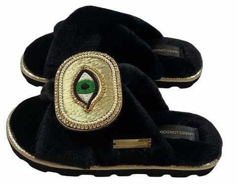 Ultralight Chic  Slippers / Sliders with Deluxe Golden Eye Brooch