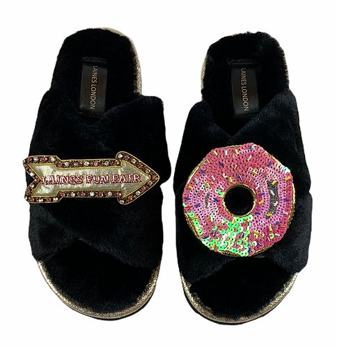 Ultralight Chic Slippers / Sliders with Premium Double Donut & Fairground Sign
