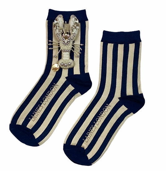 Navy & Cream Stripe Socks With Artisan Pearl & Silver Lobster Brooch