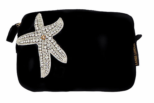 Laines London Black Velvet Bag With Silver Starfish Brooch