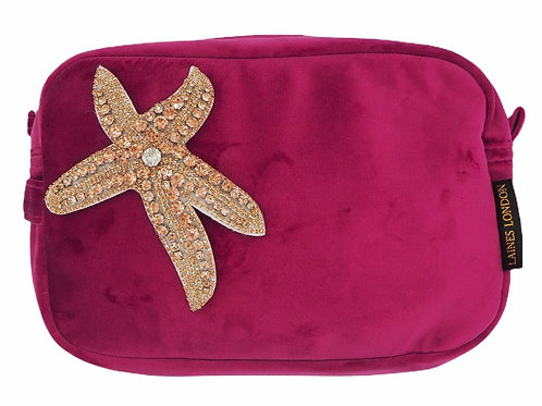 Laines London Bright Pink Velvet Bag With Rose Gold Starfish Brooch