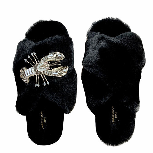 Laines Luxe Fluffy Black Slippers With Opal Lobster Brooch
