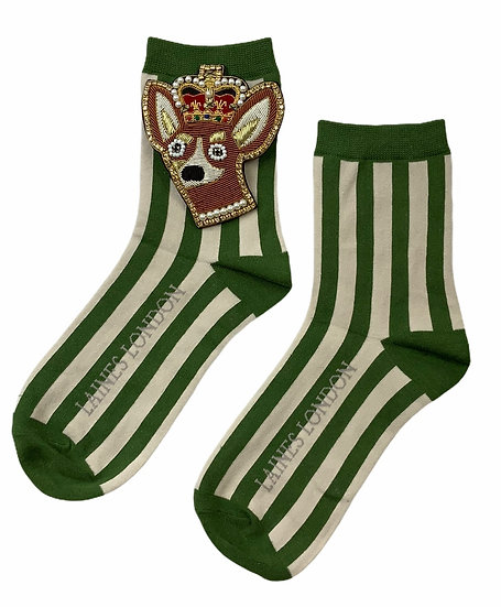 Green & Cream Stripe Socks With Artisan Deluxe Royal Corgi Brooch