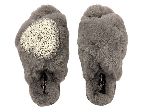 Laines Luxe Fluffy Grey Slippers With Diamanté Pearl Heart Brooch