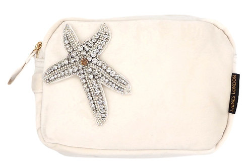 Laines London Cream Velvet Bag With Silver Starfish Brooch