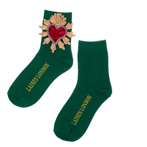 Green Bamboo Socks With Red Heart Brooch