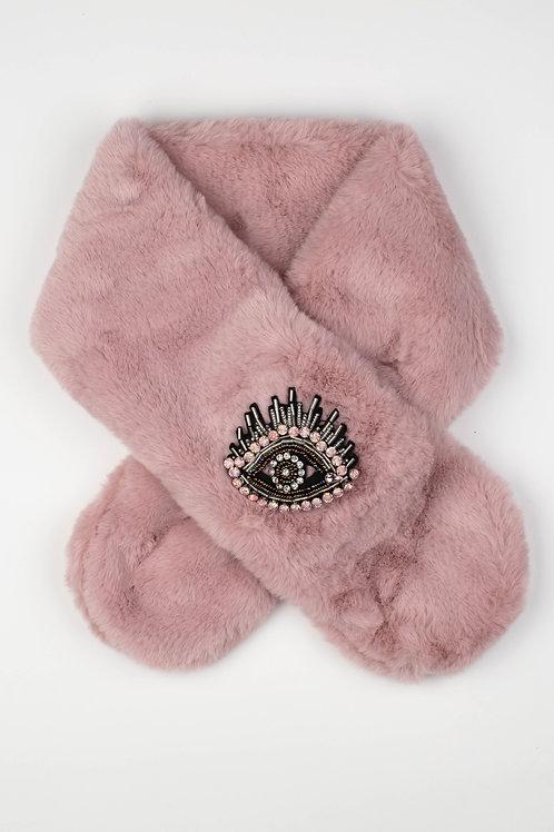 Faux Fur Collar Scarf in Pink