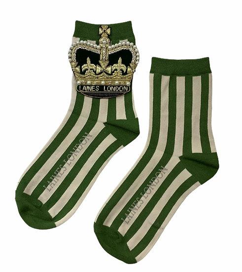 Green & Cream Stripe Socks With Artisan Deluxe Crown Brooch