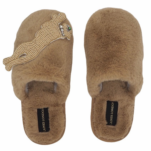 Closed Toe Caramel Fluffy Slippers with Golden Panther Brooch