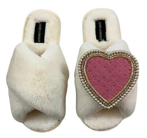 Cream Fluffy Slippers with Deluxe Pink Quilted Heart Brooch