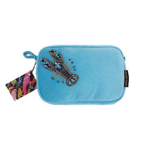 Turquoise Velvet Bag With Crystal Blue Lobster Brooch