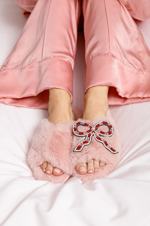 Laines Cloud Pink Slippers with Deluxe Artisan Bow Brooch